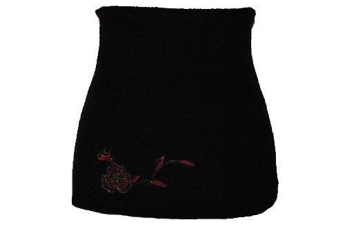 Belldessa Nierenwärmer Uni schwarz schwarzer rote Blume Blüte Applikation Bauchwärmer Fleece Frottee Nierengurt Leibwärmer Männer Frau Kinder Sport Baby Gr. Größe 4 5 b..