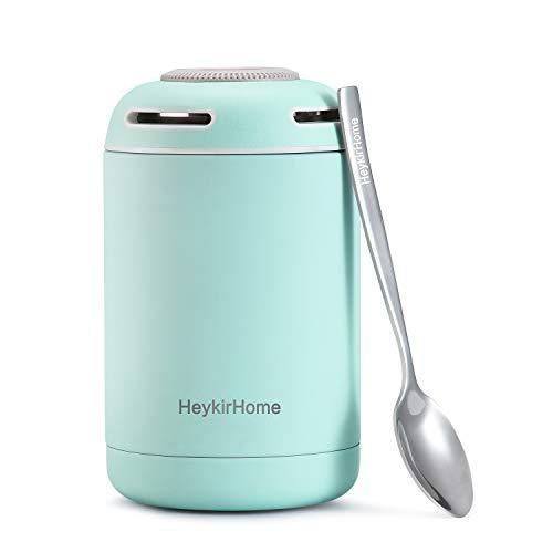 HeykirHome Thermobehälter 480ml, Edelstahl Thermo Speisebehälter Warmhaltebox für Warme Speisen, Babynahrung and Essen mit Löffel (Blau)
