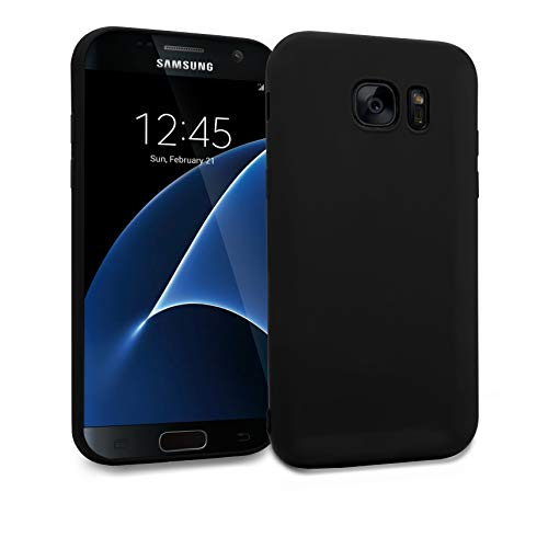 MyGadget Silikon Hülle TPU Hülle für Samsung Galaxy S7 - Soft Back Cover (1,2 mm Slim) Schutzhülle Dünn und Flexibel Handyhülle Schutz Schale - Matt Schwarz