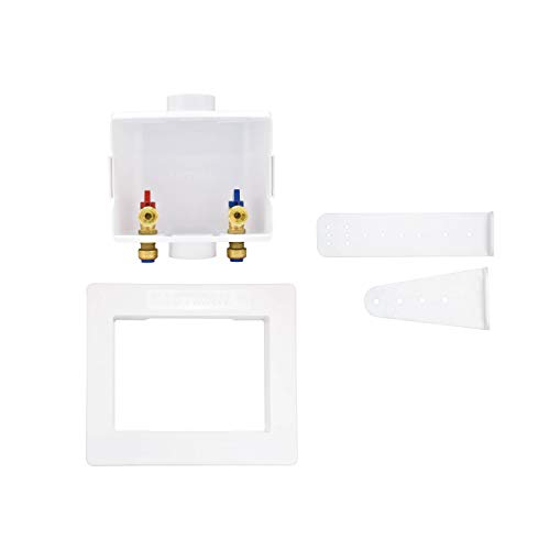 Eastman 60264 Center Drain Washing Machine Outlet Box, 1/2 inch Push-Fit, White
