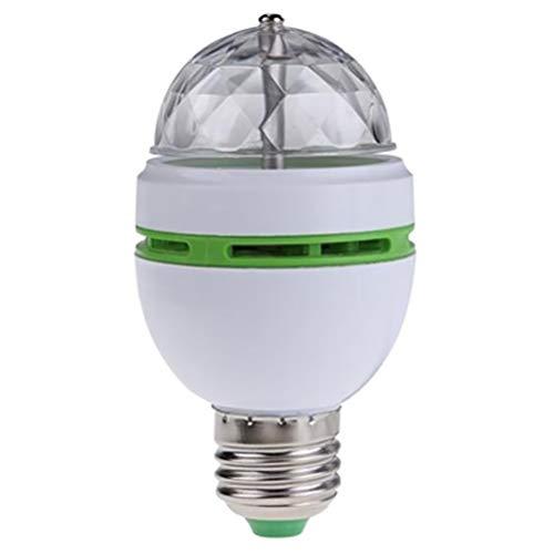 LED Partylicht, Discoleuchte, Rotierende Disco-LED-Lampe,Disco Lichteffekte, selbstdrehend, Farbwechsel, LED Birne 3 W, für alle Lampen mit E27 Fassung, Kunststoff Drehende Lampe