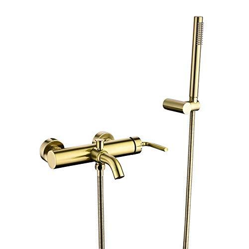 SSYS Grifo de bañera de latón para baño con Sistema de Ducha de Mano Redondo de función única Conjunto de Montaje en la Pared de una manija Acabado en Oro Cepillado
