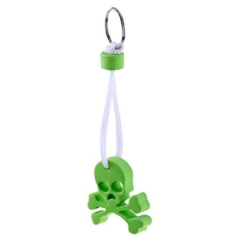 Sharplace Schwimmender Schlüsselanhänger Totenkopf Eva Schädel Schlüsselbund mit Schlüsselring, Grün