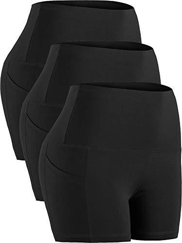 Cadmus Women's Tummy Control Workout Running Short Out Pocket,3 Pack,1016,Black & Black & Black,XX-Large