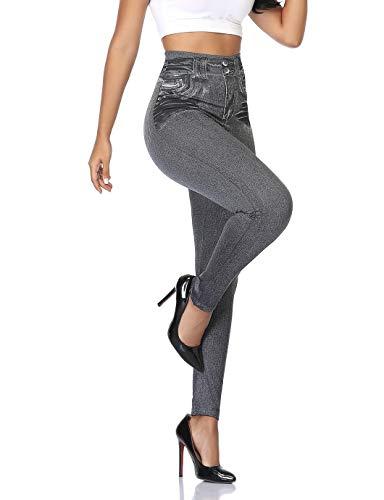 SHAPERIN Jeans para mujer con leggings ajustados Leggings con aspecto de mezclilla cintura alta Jeggings Treggings Pantalones con fajas Leggings sexy Pantalones pitillo Medias(gris,S-M)