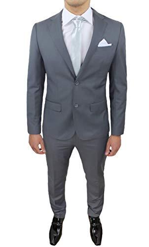 Evoga Abito Completo Uomo Sartoriale Class Elegante Vestito Smoking Cerimonia (50, Grigio Medio)