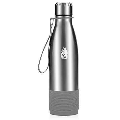 Extremus Vacuum Insulated Stainless Steel Water Bottle, Hot Thermos Bottle, 17 Oz, Simple Stainless