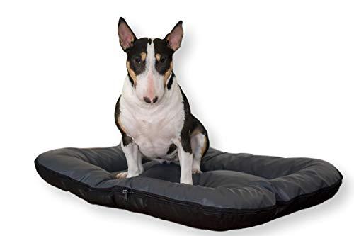 4L Textil Strapazierfähiges Hundebett aus Kunstleder Hundematratze Ella Hundesofa Hundekissen Hundematratze Hundeliege Tierkissen Kunstlederbett Haustierbett für große Hunde (M - 90x70 cm, Antrazhit)