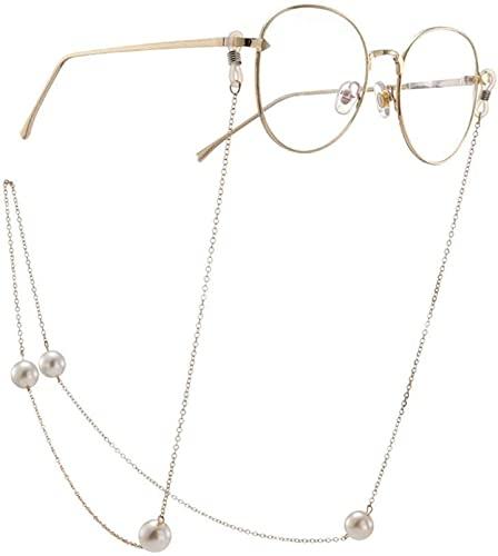 HaoLi Cadena para Gafas Gafas de Sol Cadena óptica con la línea de Cadena en Mujeres Gafas Correa para el Cuello Cadenas para la Nieve Gafas Cuerda (Color: Dorado, Tamaño: 70 cm)