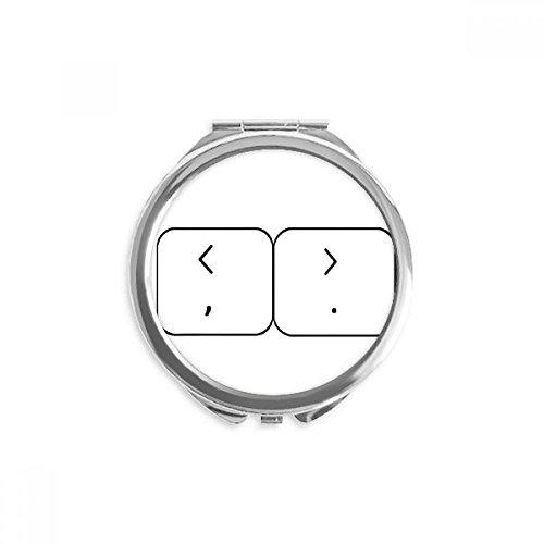 DIYthinker Tastatur Symbol Brackets Spiegel Runde bewegliche Handtasche Make-up 2.6 Zoll x 2.4 Zoll x 0.3 Zoll Mehrfarbig
