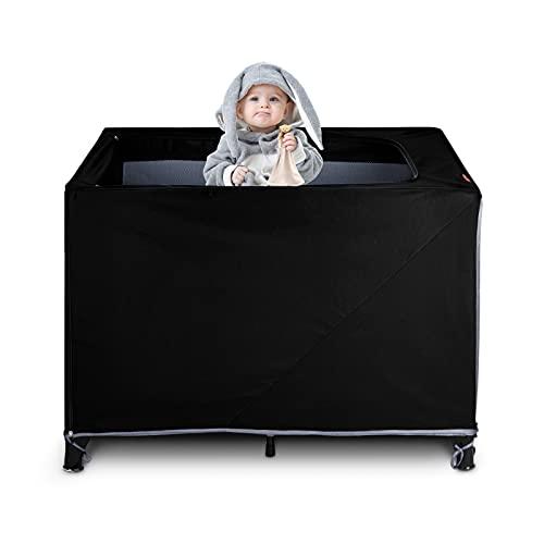 Voovc Pack N Play - Copertura oscurante per culla, portatile, tenda da viaggio elastica e traspirante, adatta per giocare o dormire all'interno o all'aperto, protezione sicura per bambini