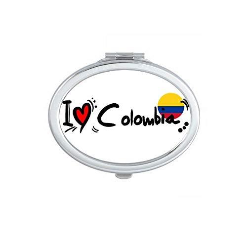 DIYthinker Ik hou van Colombia Word Vlag Liefde Hart Illustratie Ovaal Compact Make-up Spiegel Draagbare Leuke Hand Pocket Spiegels Gift