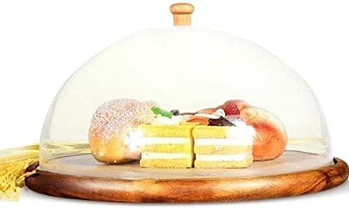 Alzata per torta con cupola, vassoio per dolci in legno, piatto per bistecca con coperchio in plastica Cupola per ristorante Falafel Chip e server per salsa 28 / 32CM, piatti da portata e vassoi per