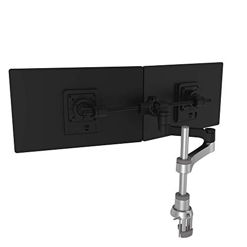 R-GO Tools Zepher 4 C2 Traverse Monitorständer-Vollständig verstellbarer-Doppelmonitorarm-Tischhalterung-8 kg Tragkraft-Modulares Design-Wiederverwertbare Materialien-Schwarz/Silber