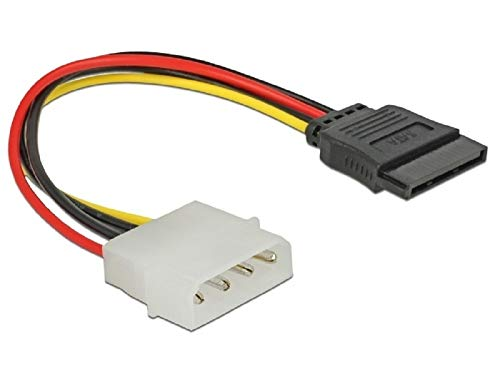 Delock Stromkabel 60100 SATA HDD 15 Pin > 4 Pin Stecker – gerade, Buchse-Stecker, 0,12 m