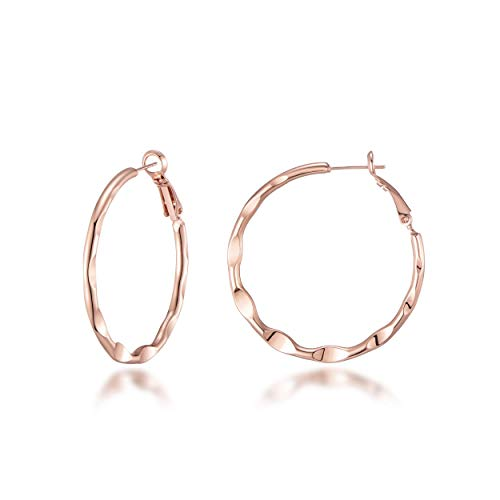 Rose Gold 30mm Crimped Hoop Earrings