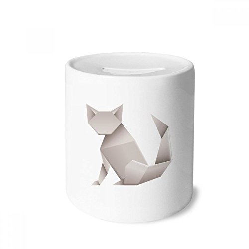 DIYthinker Origami Modelo geométrico Abstracto del Gato Caja de Dinero de Las Cajas de ahorros de cerámica Adultos Moneda de la Caja para niños