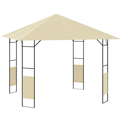 vidaXL Cenador de Jardín Toldo Parasol Marquesina Pabellón Carpa Gazebo Aire Libre Terraza Exterior Fiestas Eventos Crema 3x3x2,6 m 160 g/m²