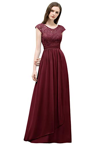 MisShow Chiffon Kleider Abendkleid Bordeaux Abschlusskleider Lang