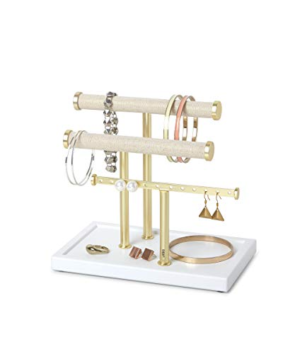 Umbra Trigem Three Tiered Tabletop Organizer for Necklace, Bracelets and Earrings, 3, White/Brass