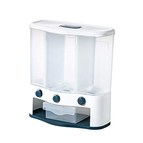Fenteer 6L dispensador de Cereales montado en la Pared 3 Granos de Rejilla contenedor de Alimentos de arroz contenedor Organizador de Cocina para Aperitivos - Verde