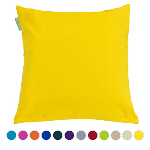 Gardenista Garden Outdoor Throw Cushion | Foam Crumb Hypoallergenic Filled | Patio Rattan Chair Patterned Furniture Pillow | Water Resistant | Multi Colour | 24' Size (Yellow)