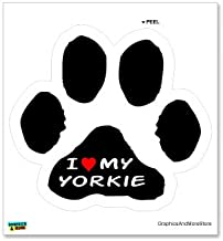 Graphics and More I Love My Yorkshire Terrier on Paw Print - Yorkie - Window Bumper Locker Sticker