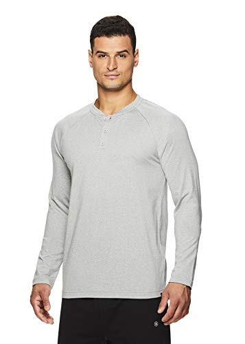 Gaiam Men's Long Sleeve Henley T Shirt - Yoga & Workout Activewear Top - Longevity Grey Heather, Small