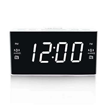 Digital Alarm Clock Radio Alarm Clocks for Bedrooms with AM/FM Radio 1.6 Inch White Digit Display with Dimmer Dual Alarm Snooze Sleep Timer  White