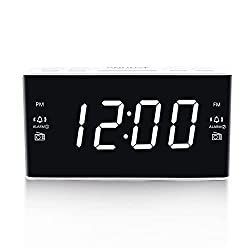 Digital Alarm Clock Radio, Alarm Clocks for Bedrooms with AM/FM Radio, 1.6 Inch White Digit Display with Dimmer, Dual Alarm, Snooze, Sleep Timer (White)