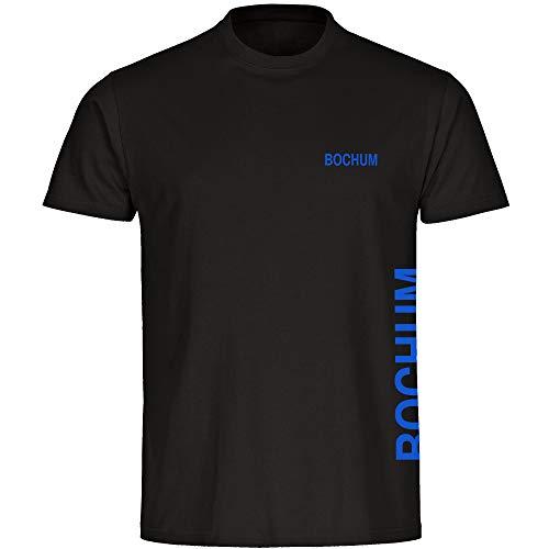 Multifanshop Herren T-Shirt Bochum seitlich - Schriftzug auf der Brust und auf der Seite - schwarz - Größe S bis 5XL - Fußball Fanartikel Fanshop,Farbe:schwarz,Größe:L