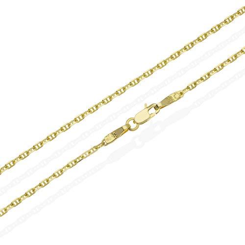 Kette Gold 750 Damen Herren massiv 18K Gelbgold Ankerkette 50cm 1,5mm Halskette Karabiner