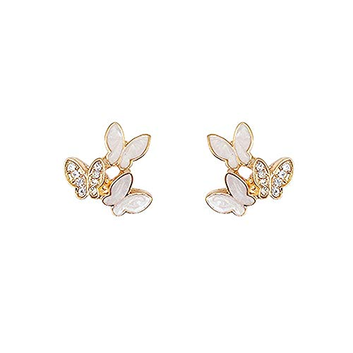 LRHD Pendientes de botón, Lovely Exquisito pequeña Mariposa Pendientes de la Forma de joyería de los Pendientes de Las Muchachas de Las Mujeres de los Hombres de Moda for cumpleaños/Partido/Navida