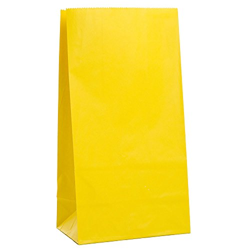 Unique Party- Paquete de 12 bolsas de regalo de papel, Color amarillo (59000)