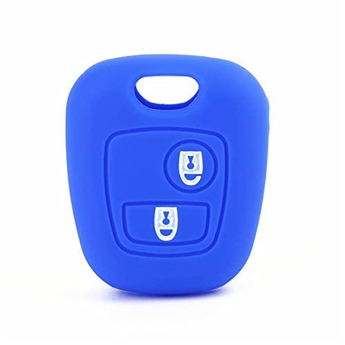 Funda Protectora de Silicona para Llave de Coche, Cubierta de Llave remota para Peugeot 107206207307 para Citroen C1 C2 C3 C4 Picasso para Toyota Aygo Azul