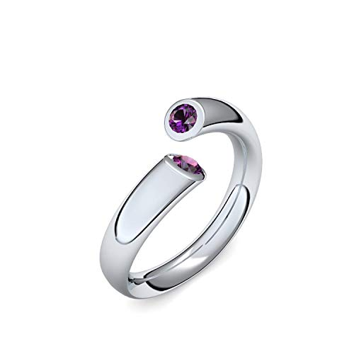 Silber Ring Amethyst 925 + inkl. Luxusetui + Amethyst Ring Silber Amethystring Silber (Silber 925) - Fusion Amoonic Schmuck Größe 60 (19.1) MW04 SS925AMFAAMFA60