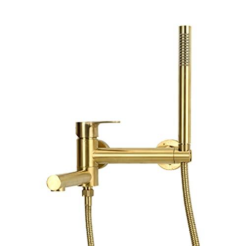 Grifo de bañera y Ducha, Pared Cascada Baño Sistema de ducha Empotrada Grifos de bañera Latón Grifos de lavabo de Baño Con Ducha de mano y Acero inoxidable Manguera de ducha Set,Oro