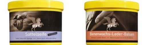 Lederseife 250 ml + Bienenwachs Lederpflege Balsam, 500 ml, incl. 4 High Energie AA 1,5 V Batterie