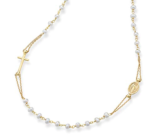 Miabella 18K Gold Over Sterling Silver Handmade Italian White Cultured Freshwater Pearl Ball Beaded Sideways Rosary Cross Necklace for Women Teen Girls, Chain 18, 20 Inch 925 Italy (18 Inch)