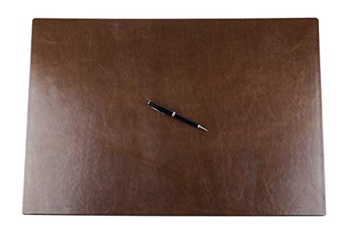 DELMON VARONE - Personalisierbare Schreibtischunterlage XXL aus Vintage Leder Anilin braun, Rutschfeste Echtleder Schreibunterlage abwaschbar, Schreibtisch Unterlage ideal als Mousepad, 65 x 45 cm