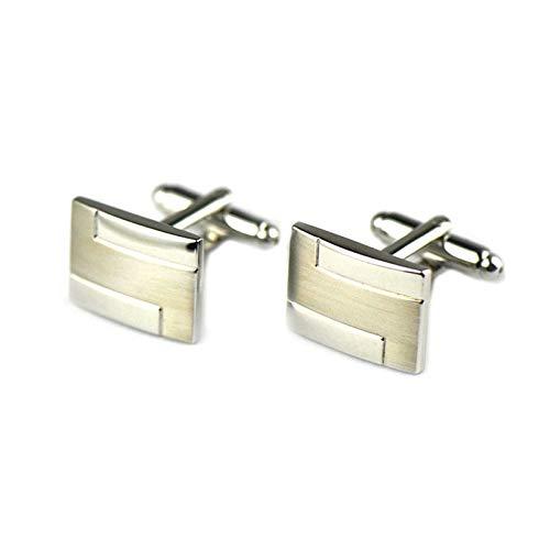ANAZOZ Herren Manschettenknöpfe Kupfer Manschettenknopf Lustig Glattes Rechteck Elegante Cufflinks Hemdanzug Silber-5 mit Kostenlose Gravur