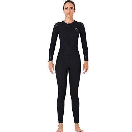 Traje de neopreno para mujer, de cuerpo completo, cálido, de manga larga, traje de buceo de neopreno de 3 mm, con cremallera frontal para buceo, snorkel, surf, natación, B, L