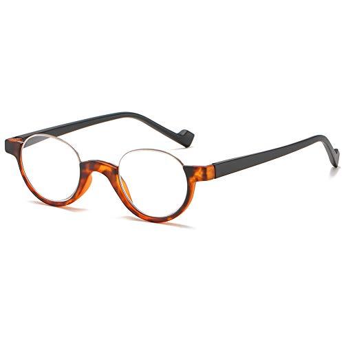 KOOSUFA Lesebrille Halbrandbrille Damen Herren Retro Rund Federscharnier Ultraleicht Lesehilfe Sehhilfe Anti Müdigkeit Brille mit Stärke 1,0 1,5 2,0 2,5 3,0 3,5 4,0 (Hawksbill, 2.0)