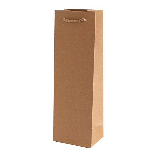 10 x Flaschentasche PresentFill® Premium Flaschentüten Natur | 100% Recycling Kraft Papier 210 gr. Stark Made in Germany | Geschenktaschen | Geschenktüten | Weinflaschen Verpackung für 1 Flasche Wein