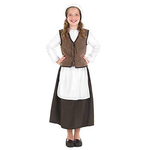 Fun Shack Braunes Mittelalter Kostüm für Mädchen, Dienstmädchen Verkleidung - L