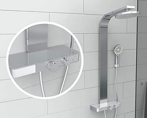 SCHÜTTE 60570 SAMOA RAIN Duschpaneel mit Thermostat-Glasablage, Duschsystem mit innovativer Samtstrahl-Technologie, Dusch-Set (Regendusche mit Wandhalterung, Duschsäule), Grau Chrom