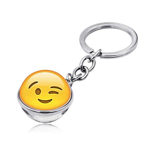 Bolso Emoji, Llavero con Gema del Tiempo, Bola de Cristal de Doble Cara, Colgante con Llavero, Regalo Creativo