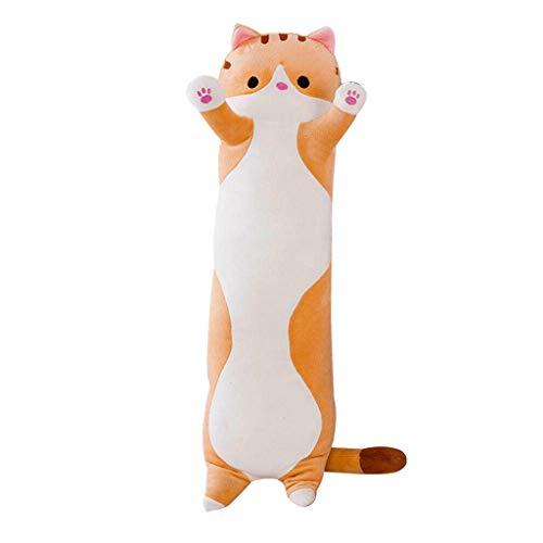 Lumon Schlafende Katze Umarmt Kissen, Süße Plüsch Katze Puppe Weich Gefülltes Kätzchen Kissen, Puppe Spielzeug Geschenk Katze Teddy Plüschtier Spielzeug für Kinder Freundin - Braun, 90cm