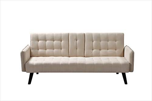 Container Furniture Direct Hash Fabric Upholstered Living Room Sleeper Sofa, 72', Beige