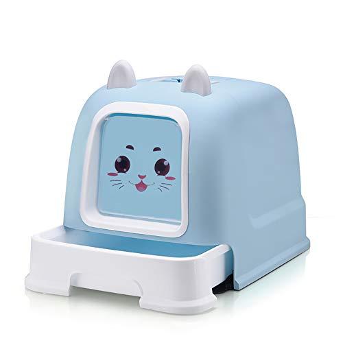 Caja de Arena para Gato Encantador Todo Cerrado Cajón Aseo Gatitos Antiolor Ecológico Abertura Frontal Fácil de Limpiar WC Inodoro,Blue